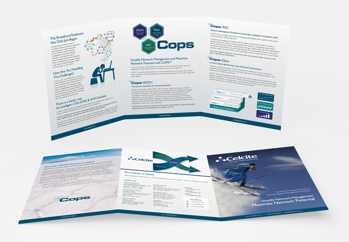 Trifold print brochure designed for an international mobile network firm.