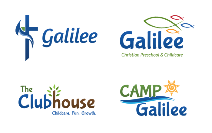 A pack of logos our agency designed for a local church and it's pre-school, camp and childcare