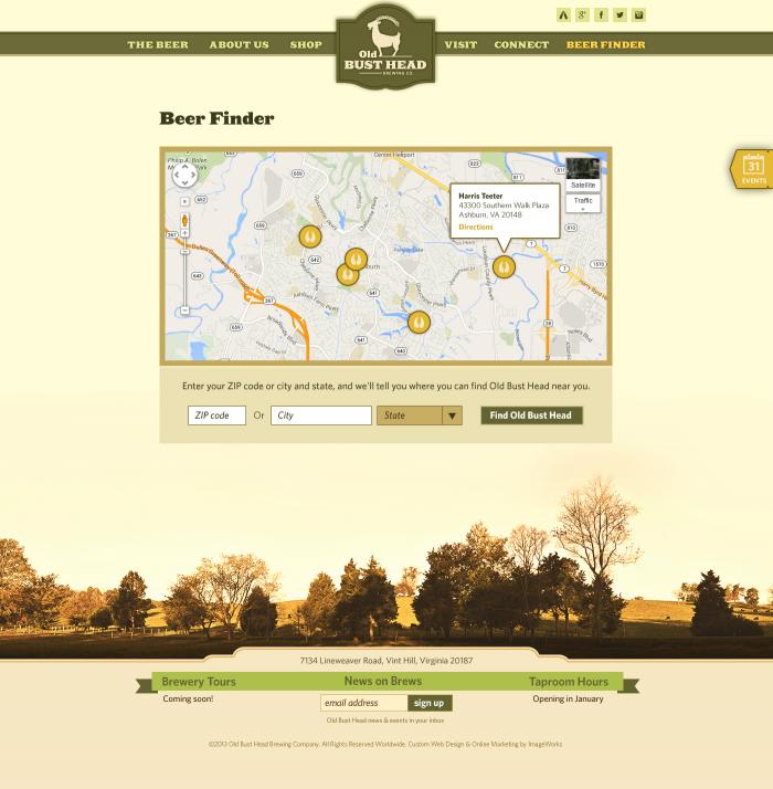 A page mapping all of the business's locations designed for a local brewery in Virginia