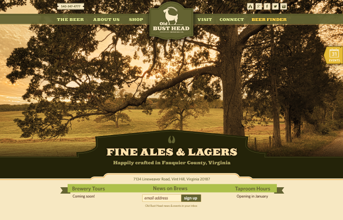 Custom web design for local brewery in Virginia.